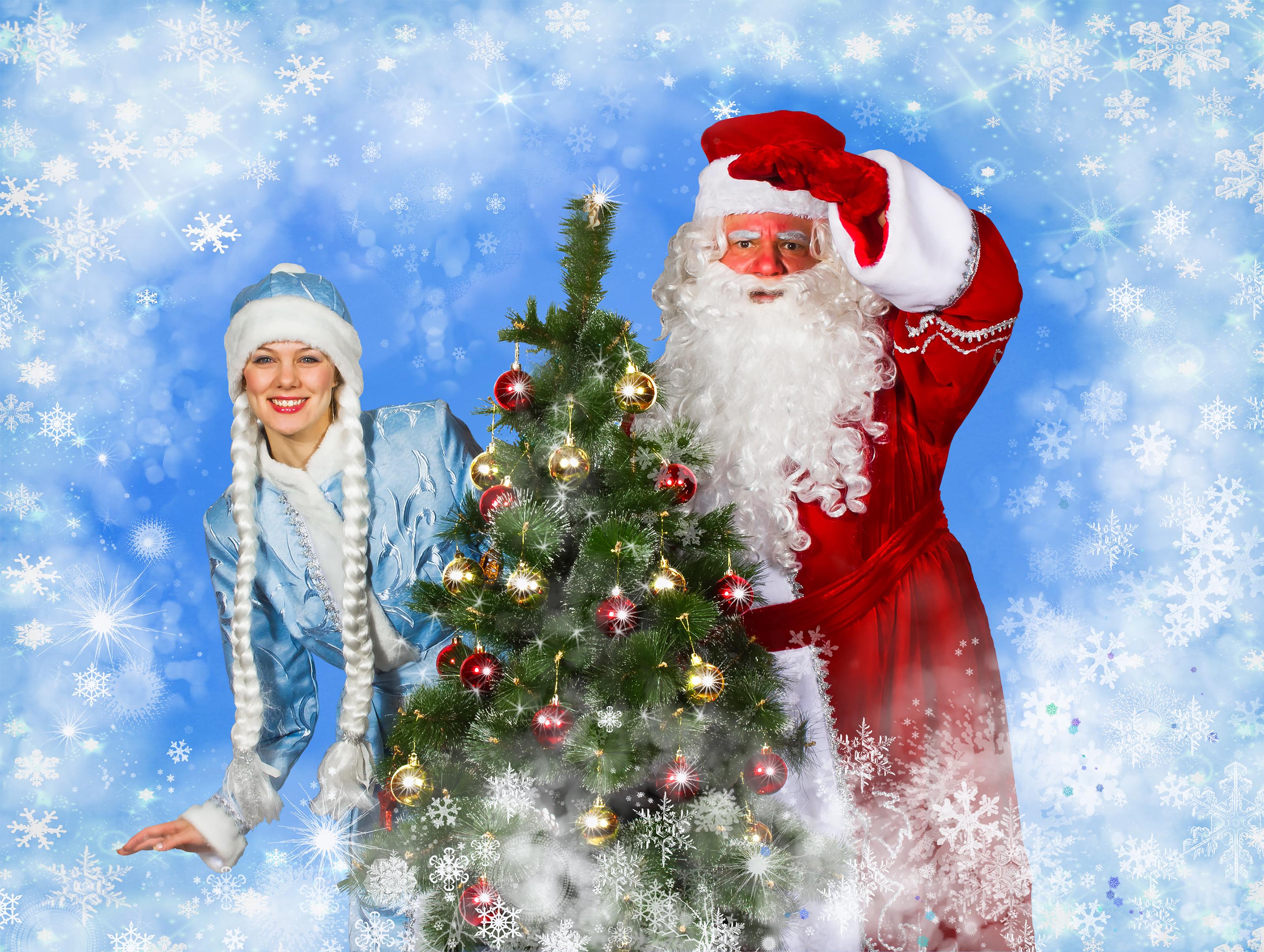 Картинка на новый год снегурочка и дед мороз